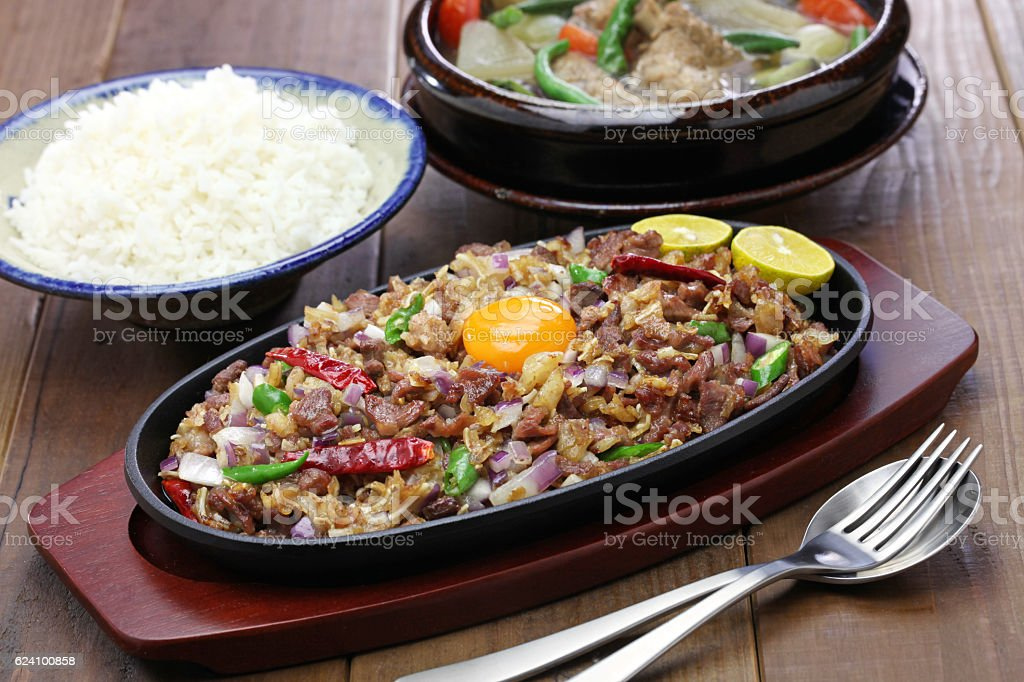 sisig and sinigang, filipino cuisine stock photo