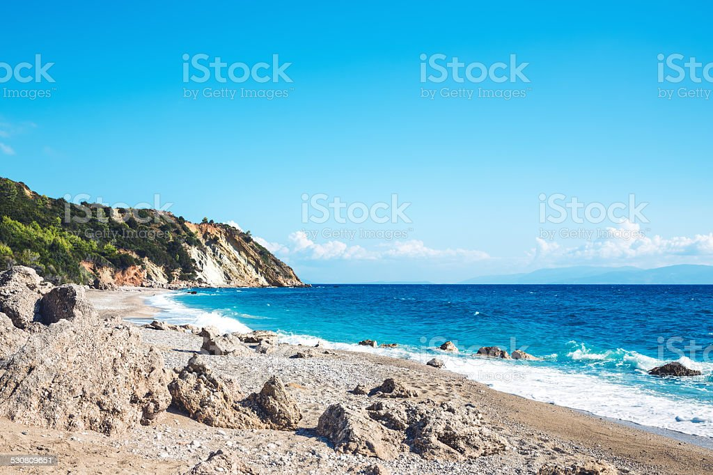 Sissia Beach On Kefalonia Island stock photo