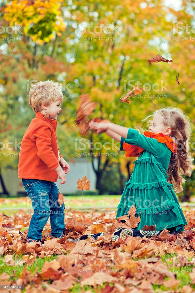 Sister and brother outdoors royalty-free stock photo