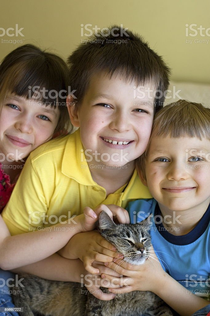 Sister, brothers and cat royalty-free stock photo