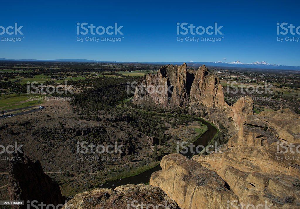 Sisters Behind Smith Rock stock photo