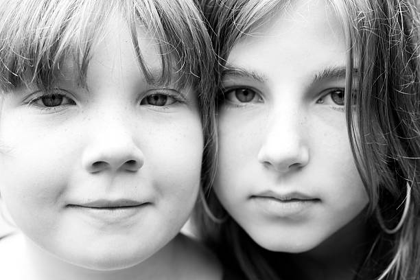 Sisters Closeup stock photo