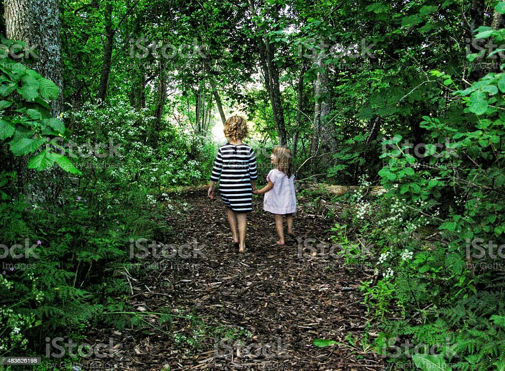 Sisters exploring stock photo