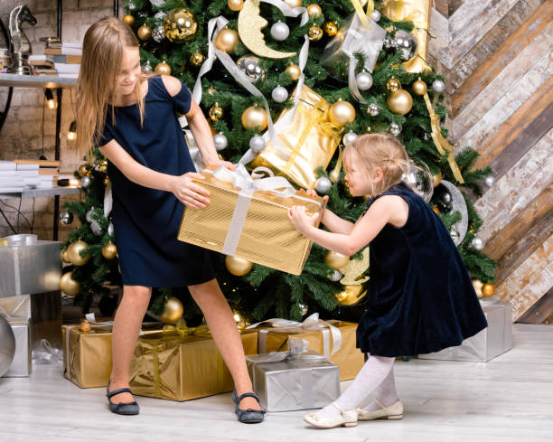 Sisters fighting for wrapped present standing beside decorated christmas tree at home on boxing day stock photo