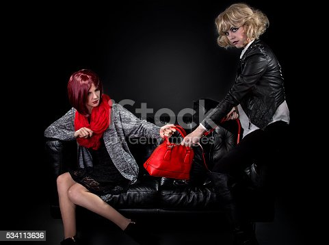 istock Sisters Fighting Over a Bag 534113636