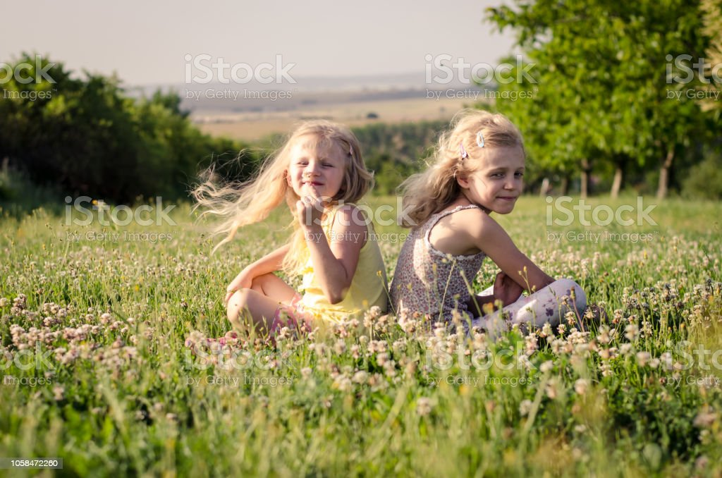 sisters in flower meadow stock photo