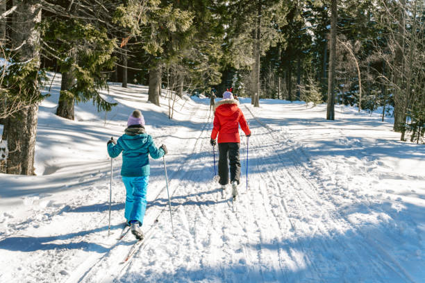 sisters in snowy winter landscape on cross-country-ski stock photo