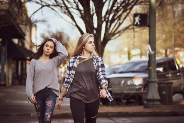 Sisters in the City. stock photo