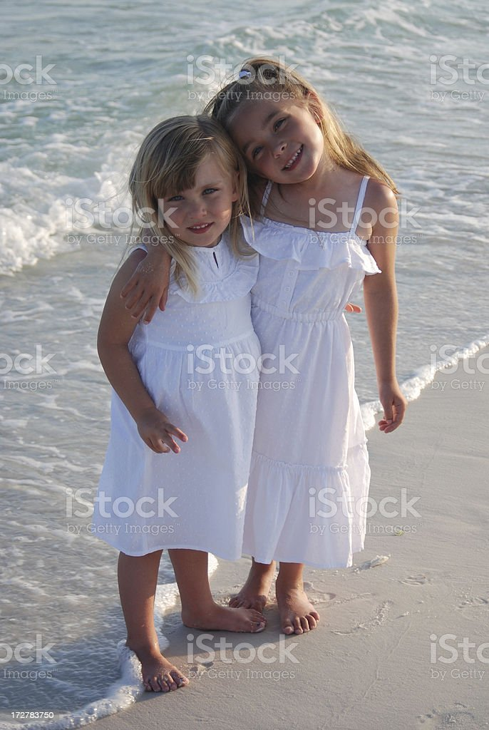 Sisters on the Beach royalty-free stock photo
