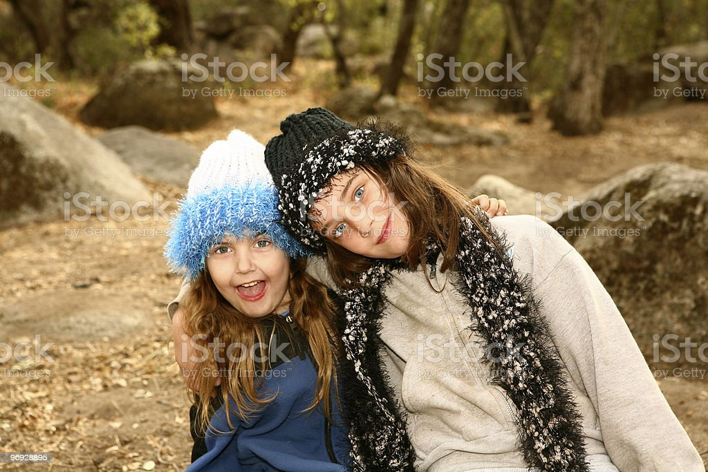 Sisters Outside on a Cold Day royalty-free stock photo