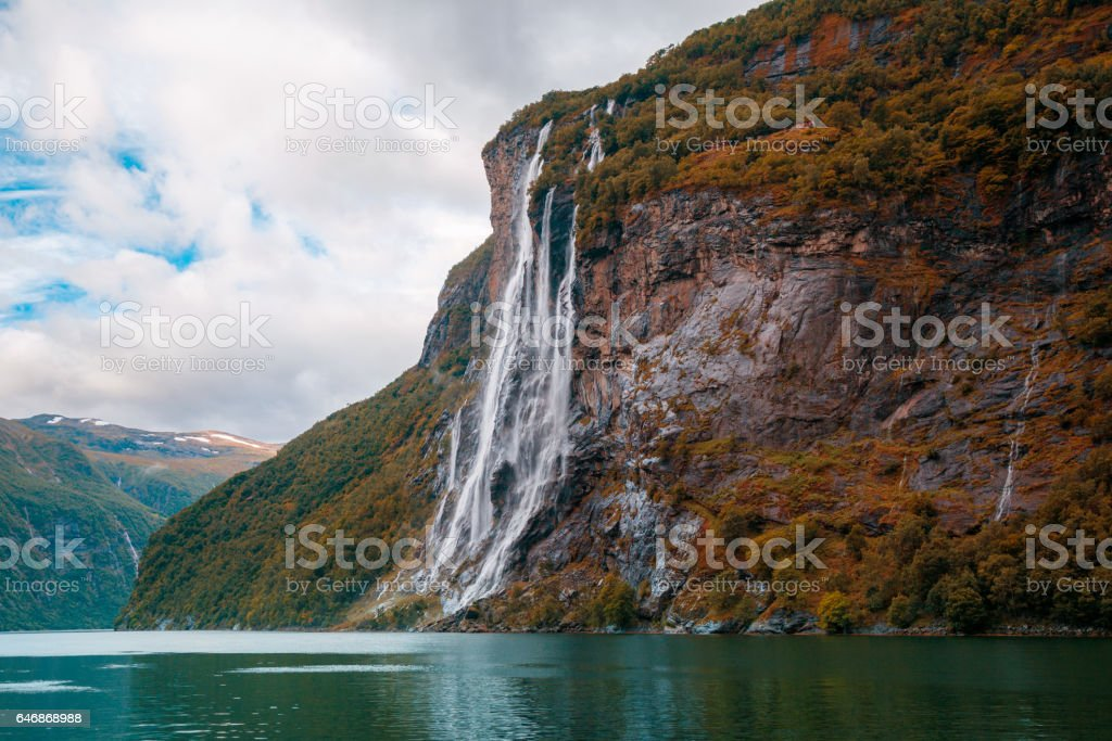 Sisters Waterfall. Geiranger fjord. Norway stock photo