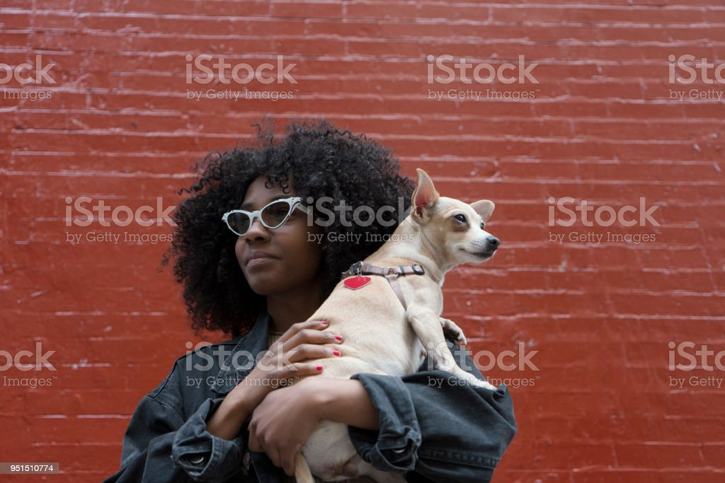 Sisters with their dog, New York