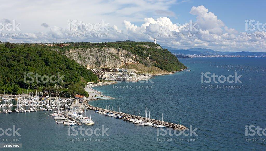 Sistiana Bay Marina and Coastline toward Trieste stock photo