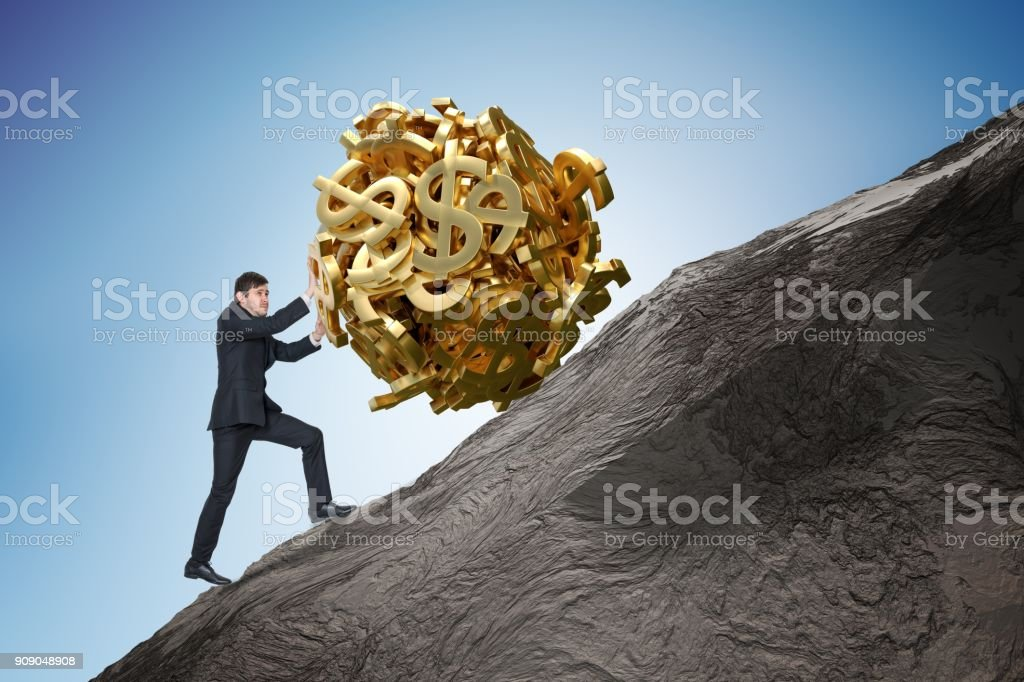 Young Sisyphus Tries To Move World >> Sisyphus Metaphore Young Businessman Is Maximizing Earnings And