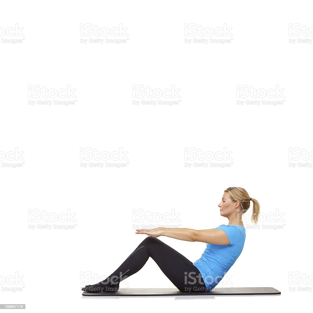 Sit ups on the mat royalty-free stock photo