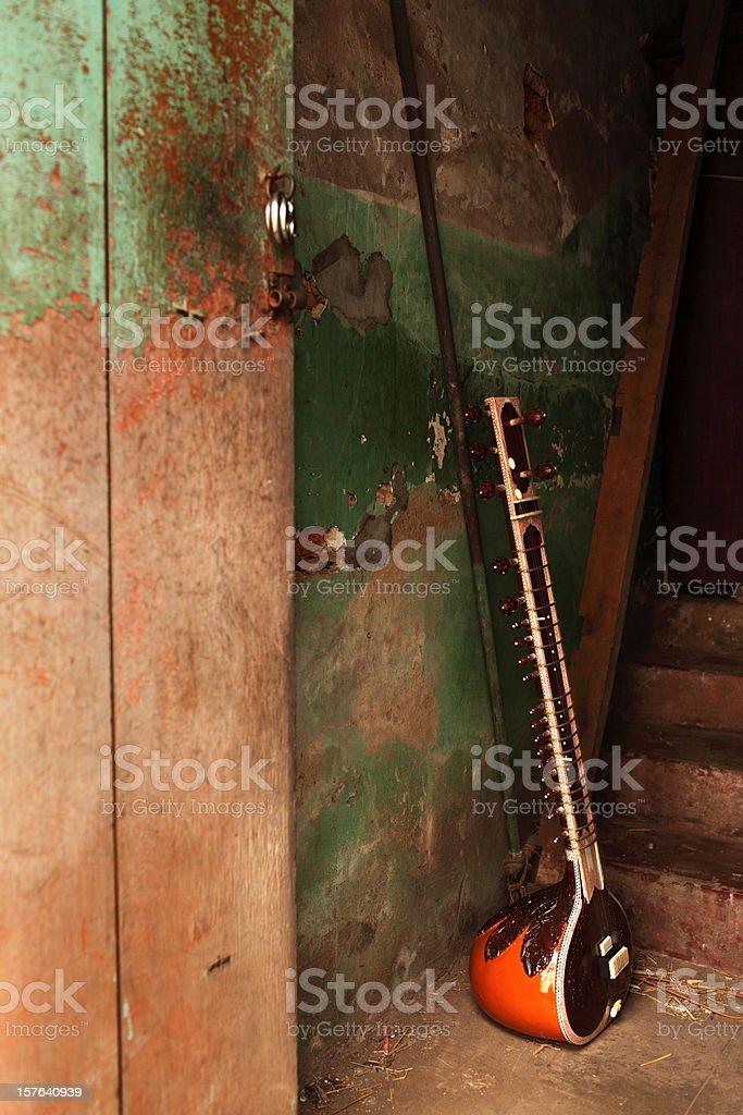 Sitar in the hallway stock photo