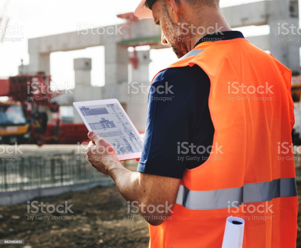 Site engineer on a construction site stock photo