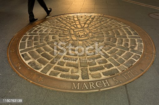 Historic marker of the Site of the Boston Massacre on State Street along the Freedom Trail in Boston, Massachusetts, USA