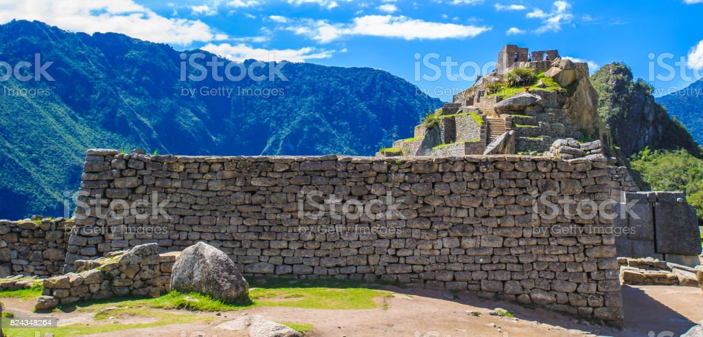 Site of the ruins that remain in the mountain of Peru stock photo
