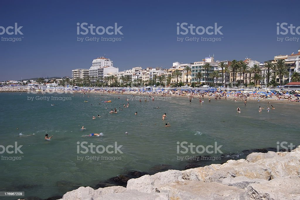 Sitges Beach Landscape royalty-free stock photo