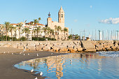 Details of the Church of St. Bartholomew and Santa Tecla in Sitges (Spain)