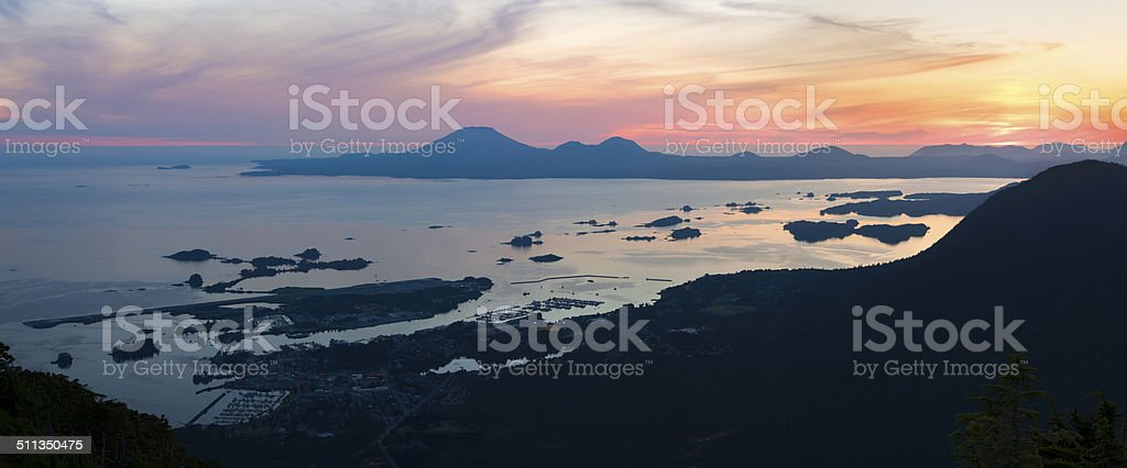 Sitka sunset from Mount Verstovia stock photo