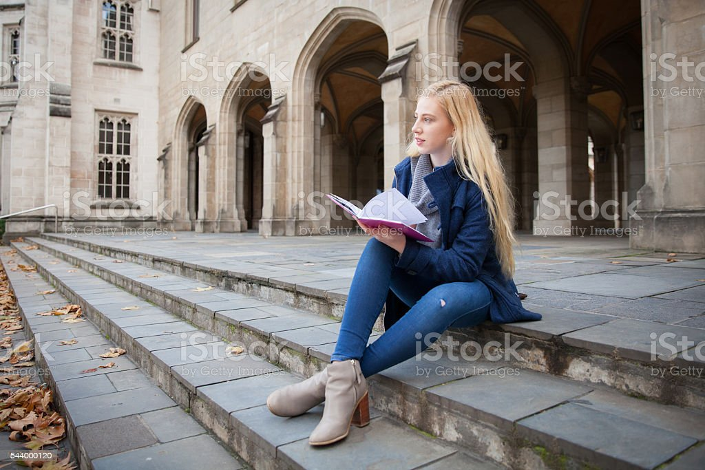 Sitting Alone at University stock photo
