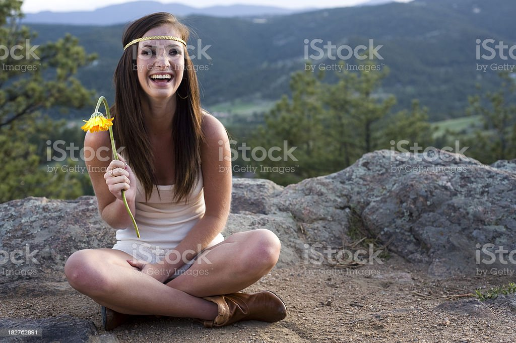 Sitting and Laughing stock photo