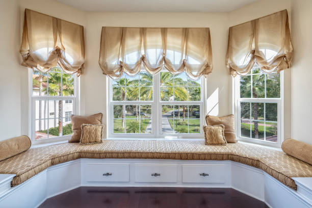 Sitting area in an estate home with storage stock photo