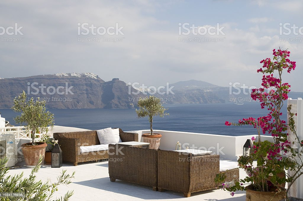 Sitting area, resort in Greece royalty-free stock photo