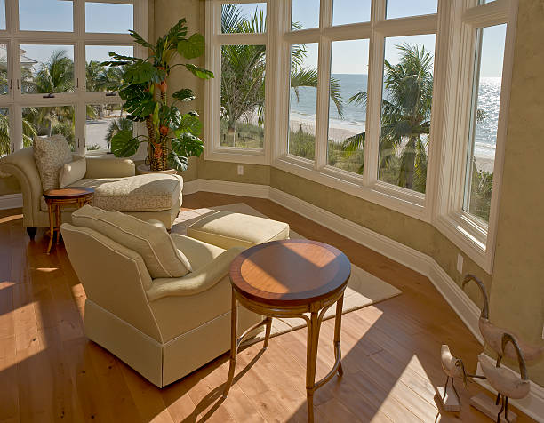 Sitting Area with View of Beach in Florida Estate Home stock photo