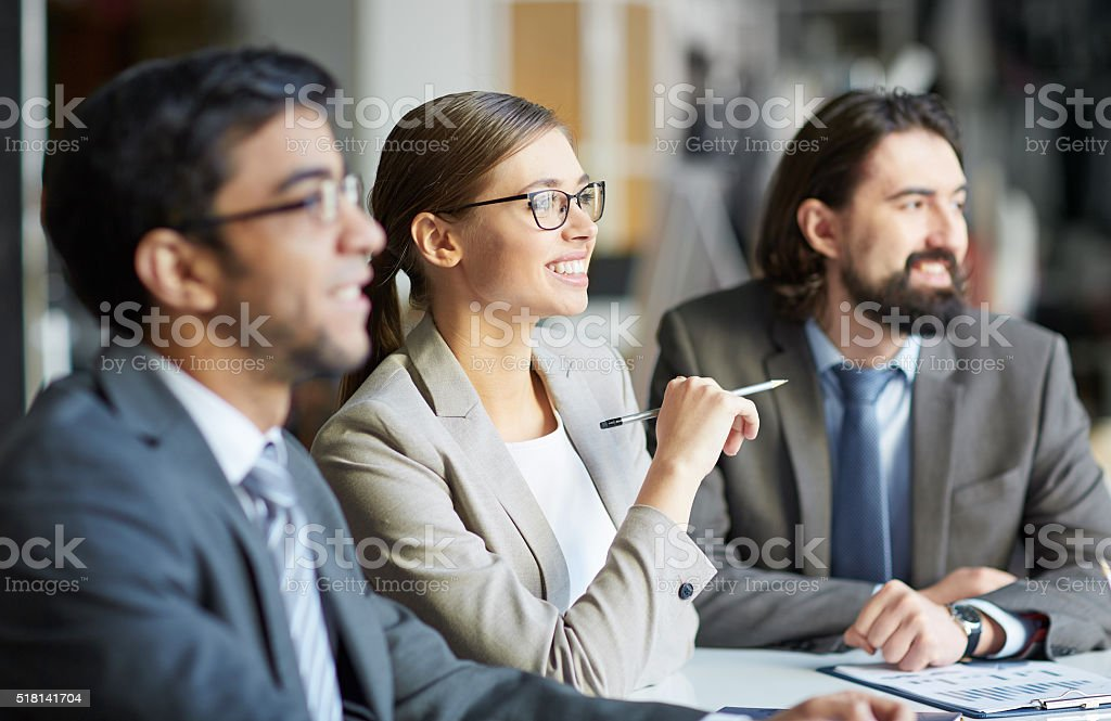 Sitting at seminar stock photo