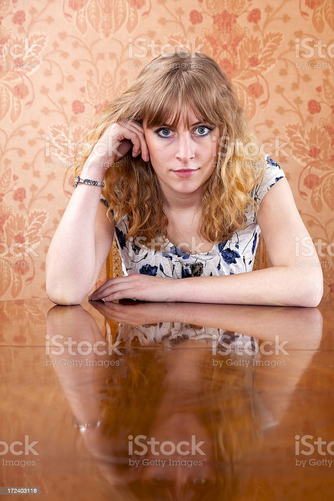 Sitting At Table royalty-free stock photo