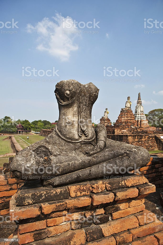 Sitting Buddha At Wat Chaiwatthanaram stock photo