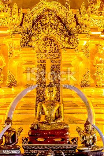 istock Sitting Buddha Image in Chiangmai, Thailand 637026670