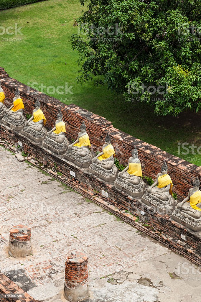 Sitting Buddhas images at Wat Yai Chai Mongkol, Ayutthaya, Thailand royalty-free stock photo