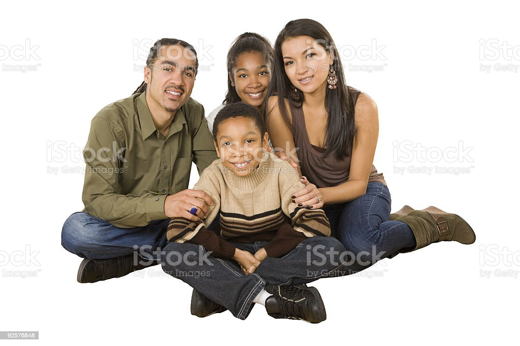 Sitting family of four royalty-free stock photo