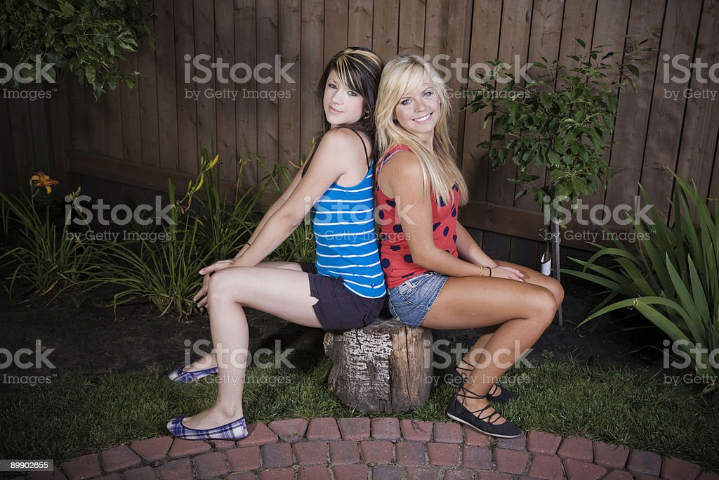 Sitting Friends royalty-free stock photo