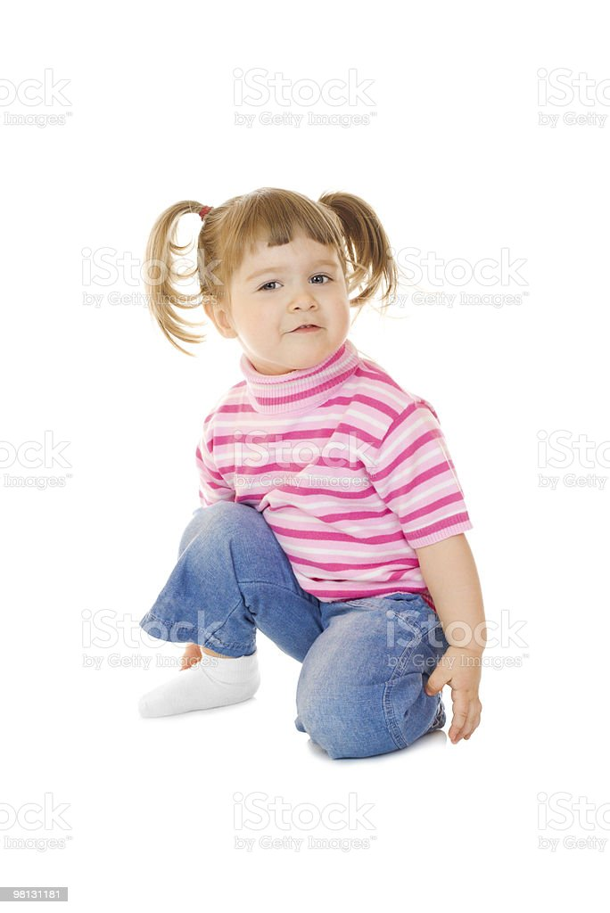 Sitting funny little girl royalty-free stock photo
