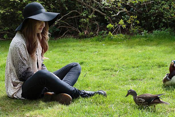 latvian outdoor girl feeding mandarin duck with duck pellets - whiteway latvian outdoor girl stock photos and pictures