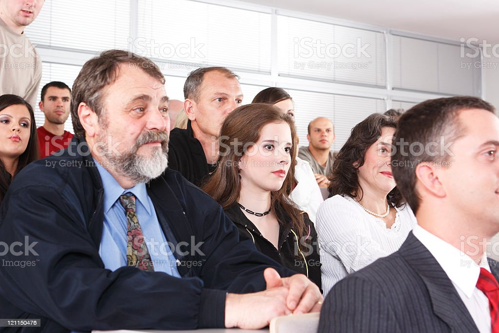 Sitting in the audience stock photo
