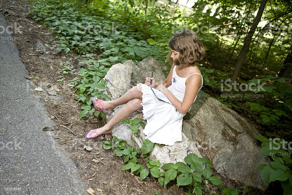 Sitting in the Woods Writing royalty-free stock photo