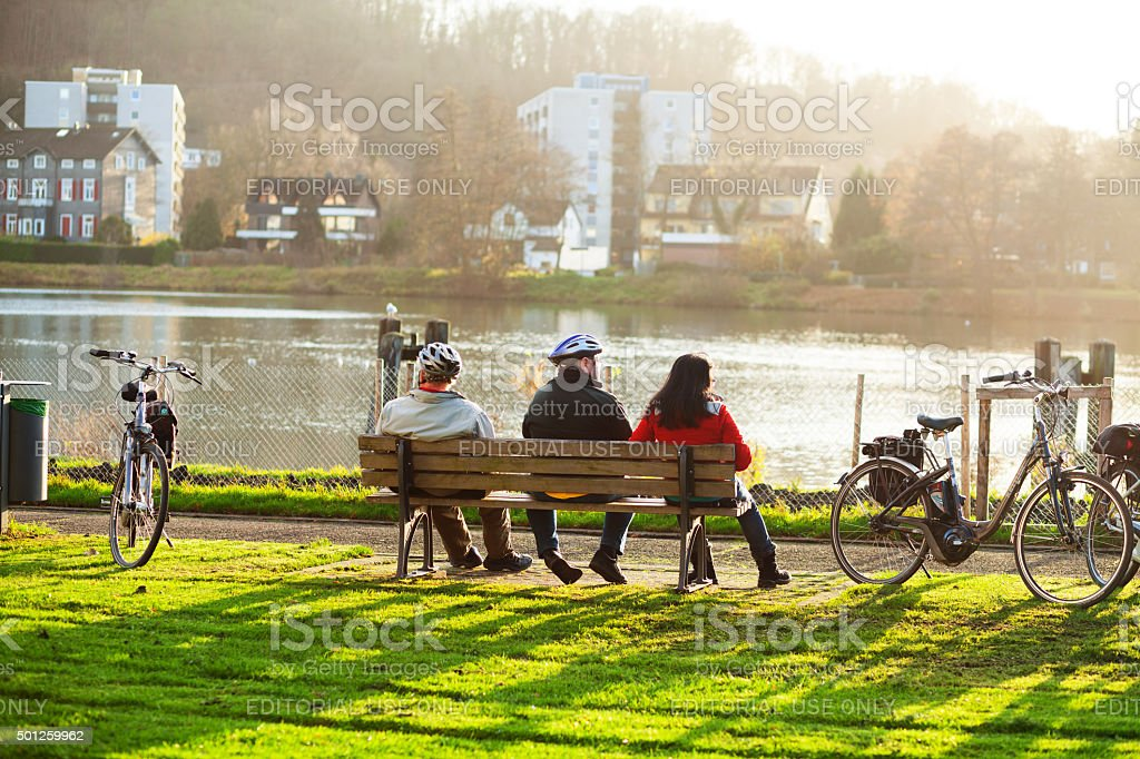 Sitting in winter sunshine at Ruhr stock photo