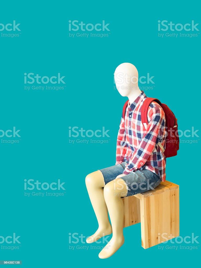 Sentado manequim masculino. - Foto de stock de Azul royalty-free