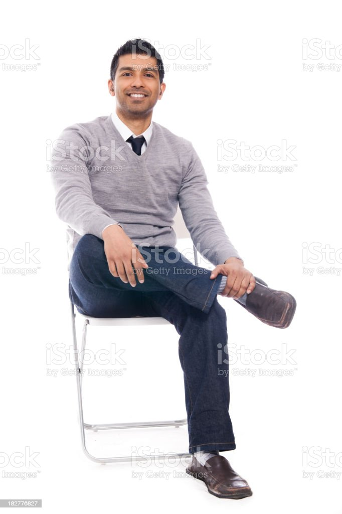 Sitting Man Isolated on White Background stock photo