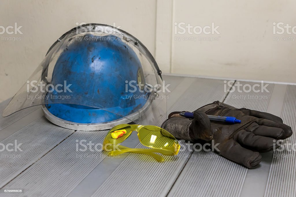 PPE Sitting on a Table stock photo