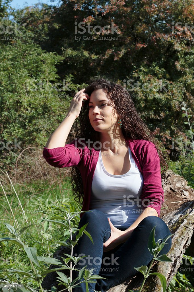 Shapely Canadian outdoor girl on Mitcham Common stock photo