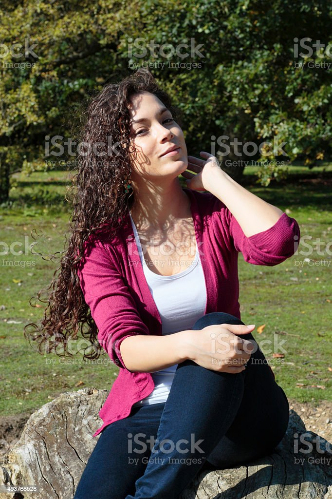 Long haired beautiful Canadian outdoor girl on Mitcham Common stock photo