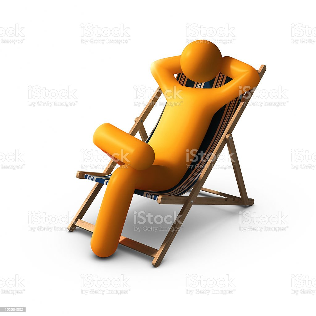 Sitting on deck chairs enjoying vacation royalty-free stock photo