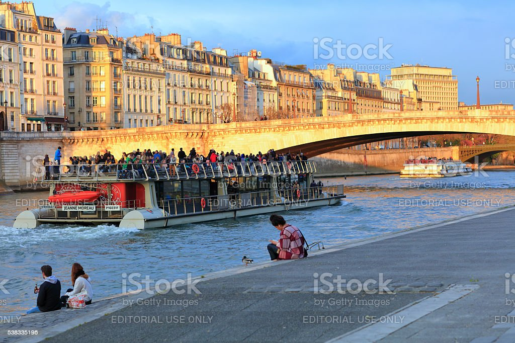 Sitting On The Banks Of Seine stock photo